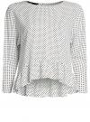 Блузка вискозная с воланами oodji #SECTION_NAME# (слоновая кость), 11405136/46436/3029D