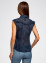 Блузка из ткани деворе oodji #SECTION_NAME# (синий), 11405092-5/26206/7900N - вид 3
