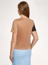 Блузка колор блок из искусственной замши oodji для женщины (бежевый), 18K01004/47301/3539B