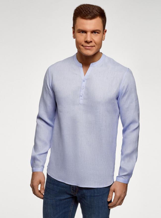 Рубашка льняная без воротника oodji #SECTION_NAME# (синий), 3B320002M/21155N/7000N