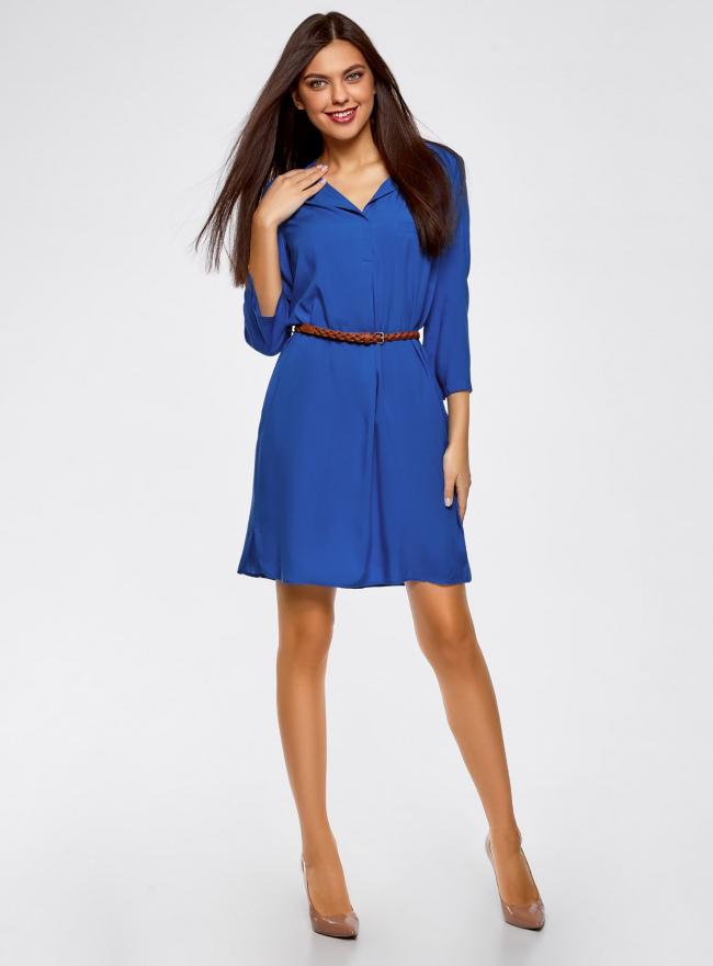 Платье вискозное с плетеным поясом oodji для женщины (синий), 11900180-1/42540/7500N