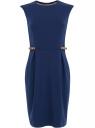 Платье трикотажное с декором из искусственной кожи oodji для женщины (синий), 24008300/35477/7900N