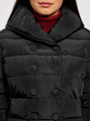 Пальто стеганое с объемным воротником oodji для женщины (черный), 10204049-1B/24771/2900N - вид 4