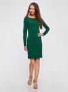 Платье трикотажное облегающего силуэта oodji для женщины (зеленый), 14001183B/46148/6E00N - вид 2
