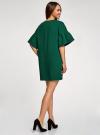 Платье прямого силуэта с воланами на рукавах oodji #SECTION_NAME# (зеленый), 14000172-1/48033/6929P - вид 3