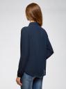 Блузка базовая из струящейся ткани oodji #SECTION_NAME# (синий), 11400368-8B/48854/7900N - вид 3