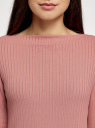 Джемпер трикотажный с вырезом-лодочкой oodji для женщины (розовый), 14201045/49812/4B91X