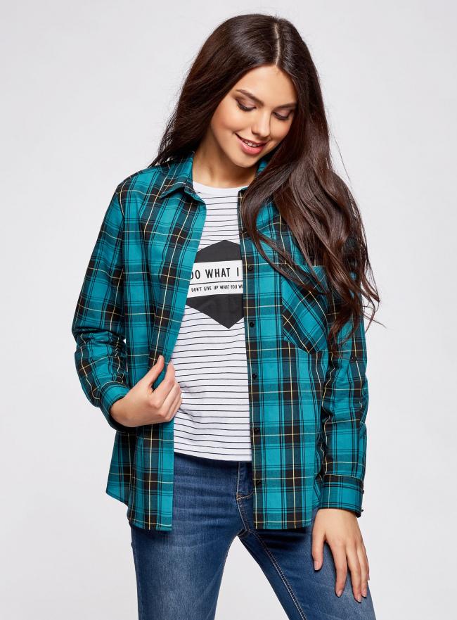 Рубашка в клетку хлопковая oodji для женщины (бирюзовый), 11411099-3/43566/7629C