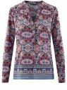 Блузка прямого силуэта с V-образным вырезом oodji #SECTION_NAME# (разноцветный), 21400394-3M/24681/2949E