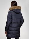 Куртка удлиненная с искусственным мехом на капюшоне oodji #SECTION_NAME# (синий), 10203058/45928/7901N - вид 3