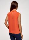 Топ базовый из струящейся ткани oodji для женщины (оранжевый), 14911006-2B/43414/5500N - вид 3