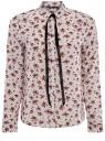 Блузка принтованная с контрастным бантом oodji #SECTION_NAME# (белый), 11411058/43277/1245F