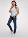 Рубашка с воротником-стойкой и коротким рукавом реглан oodji #SECTION_NAME# (белый), 13K03006B/26357/1029Q - вид 6