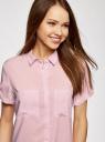 Блузка из вискозы с нагрудными карманами oodji #SECTION_NAME# (розовый), 11400391-4B/24681/4000N - вид 4