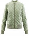 Куртка стеганая из искусственной кожи oodji #SECTION_NAME# (зеленый), 28A03001/45639/6000N