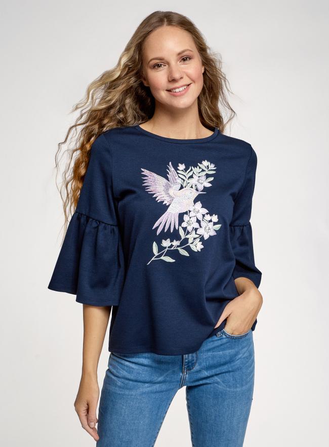 Блузка трикотажная с рукавами-воланами oodji для женщины (синий), 14201527-3/46944/7970P