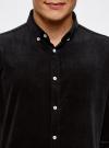 Рубашка slim из вельвета oodji #SECTION_NAME# (черный), 3L110218M/44424N/2900N - вид 4