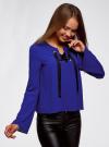 Блузка с бантом и рукавом-колоколом oodji #SECTION_NAME# (синий), 11401256/45994/7500N - вид 2
