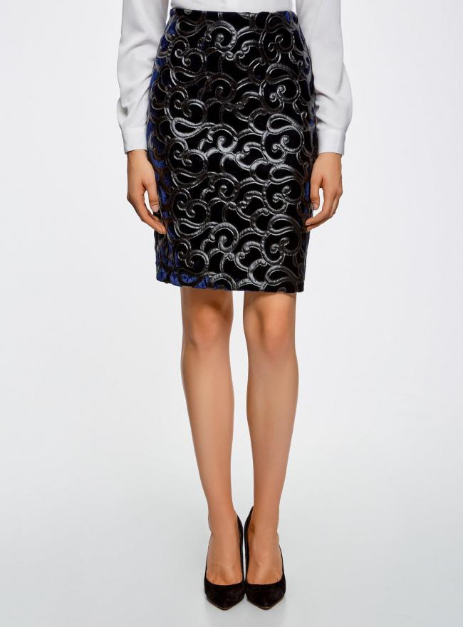 Юбка бархатная с аппликацией из искусственной кожи oodji для женщины (синий), 24101045-2/46067/7900N
