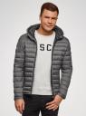 Куртка стеганая с капюшоном oodji #SECTION_NAME# (серый), 1B112009M/25278N/2300N - вид 2