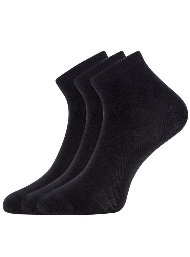 Комплект из трех пар укороченных носков oodji для женщины (черный), 57102418T3/47469/2900N
