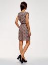 Платье принтованное из вискозы oodji #SECTION_NAME# (розовый), 11910073-2/45470/4B29F - вид 3