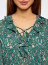 Блузка принтованная с воланами и стразами oodji #SECTION_NAME# (бирюзовый), 11411110/10466/7319F - вид 4