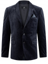Пиджак бархатный приталенного силуэта oodji для мужчины (синий), 2L420215M/47529N/7900N