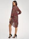 Платье шифоновое с асимметричным низом oodji для женщины (красный), 11913032/38375/4912E - вид 3