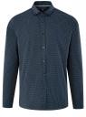 Рубашка хлопковая с контрастной отделкой воротника oodji #SECTION_NAME# (синий), 3B110031M/44425N/7910D