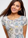 Платье трикотажное с воланами oodji #SECTION_NAME# (разноцветный), 14011017/46384/3025E - вид 4