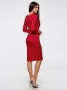 Платье трикотажное с вырезом-капелькой на спине oodji #SECTION_NAME# (красный), 24001070-5/15640/4500N - вид 3