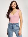 Майка вискозная с отделкой кружевом oodji для женщины (розовый), 14315009/50000/4000N