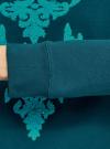 Свитшот с вышивкой из ткани букле oodji #SECTION_NAME# (бирюзовый), 14807041-1/47999/7473P - вид 5