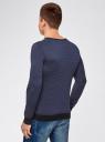 Пуловер с V-образным вырезом и контрастной отделкой oodji #SECTION_NAME# (синий), 4L212160M/44357N/7974J - вид 3