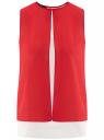 Блузка двуцветная многослойная oodji #SECTION_NAME# (красный), 14901418/26546/124DB