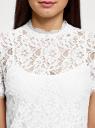 Блузка ажурная с коротким рукавом oodji #SECTION_NAME# (белый), 11401277/48132/1200L - вид 4