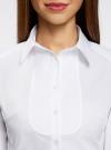 Рубашка хлопковая с манишкой oodji #SECTION_NAME# (белый), 21405133/42083/1000N - вид 4