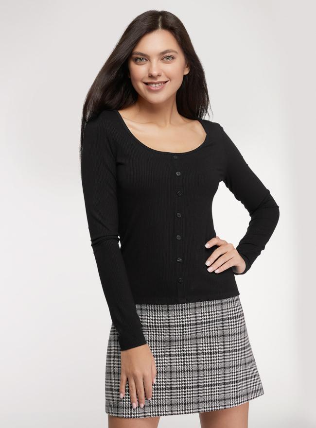 Джемпер с глубоким вырезом oodji для женщины (черный), 14201054/50249/2900N