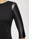 Платье с отделкой из искусственной кожи oodji для женщины (черный), 14001143-4B/46944/2900N