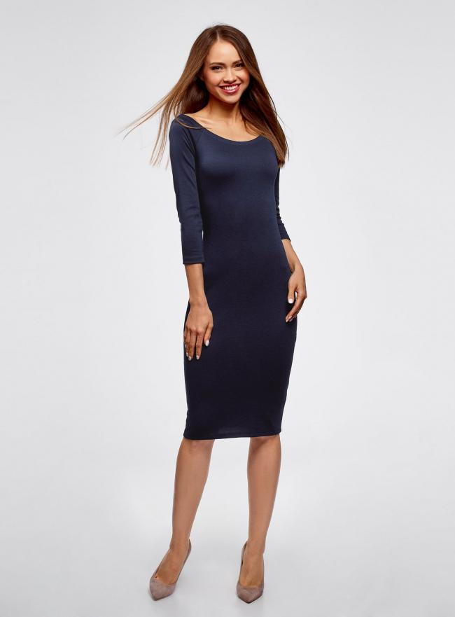 Платье облегающее с вырезом-лодочкой oodji для женщины (синий), 14017001-5B/46944/7900N