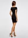 Платье трикотажное с принтом из флока oodji для женщины (черный), 14001117-9/33038/2929O