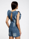 Комбинезон джинсовый с рукавами-крылышками oodji #SECTION_NAME# (синий), 13109008/18361/7500W - вид 3