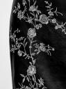 Юбка из искусственной кожи с вышивкой oodji для женщины (черный), 18H01006/47260/2900N
