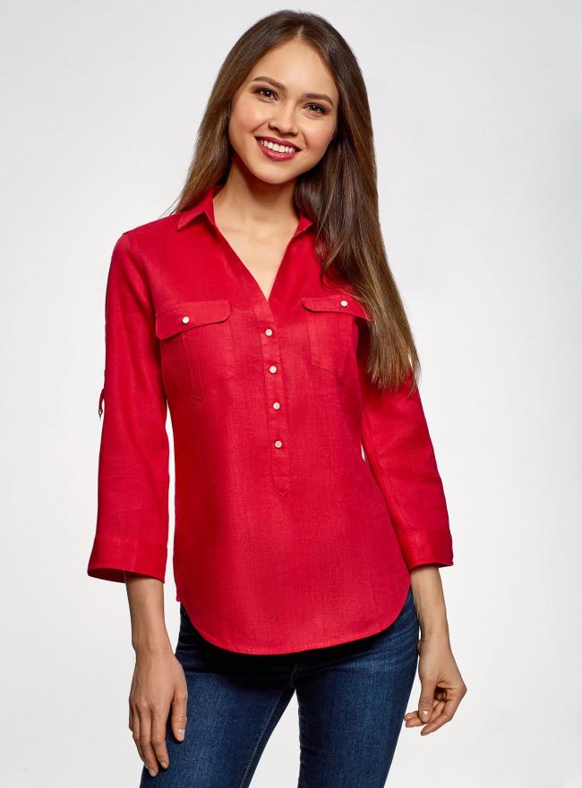 Блузка льняная с карманами oodji #SECTION_NAME# (красный), 21412145/42532/4500N
