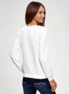 Свитшот базовый из фактурной ткани oodji для женщины (белый), 24801010-19/49344/1201N - вид 3