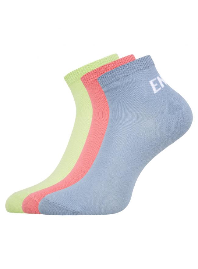 Комплект из трех пар укороченных носков oodji для женщины (разноцветный), 57102418T3/47469/19T0P