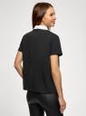 Блузка прямого силуэта с отделкой кристаллами oodji #SECTION_NAME# (черный), 14701103/48053/2910B - вид 3