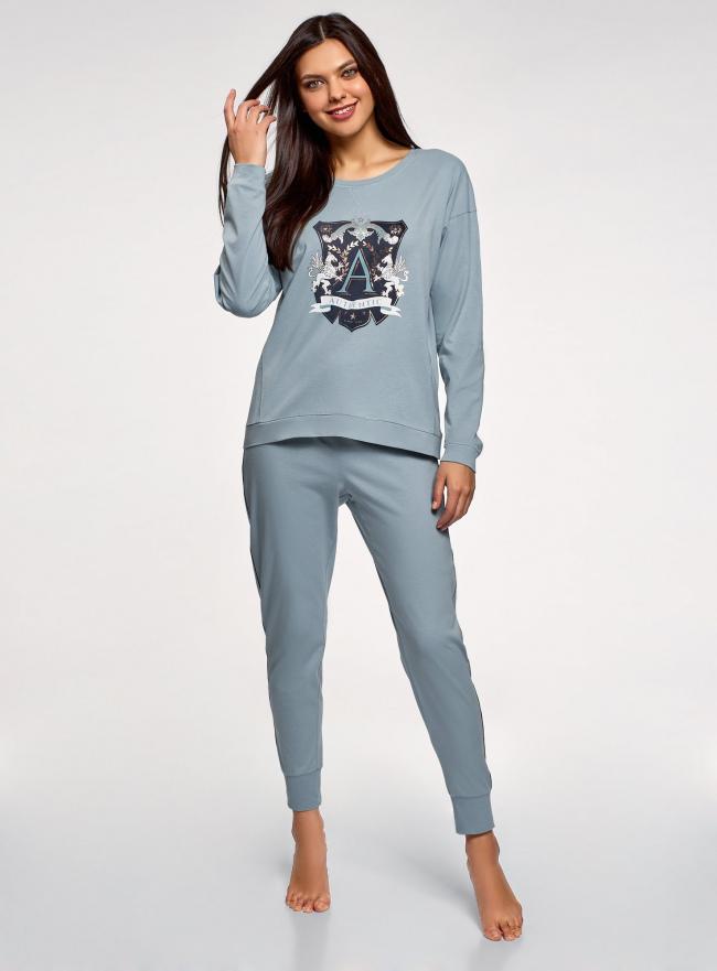 Пижама хлопковая с брюками oodji #SECTION_NAME# (синий), 56002224/46154/7079P
