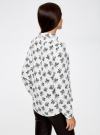 Блузка принтованная из шифона oodji #SECTION_NAME# (белый), 11400394-5/36215/1229F - вид 3